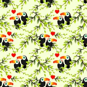 オオハシカップルのシームレスなパターン。