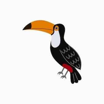 オオハシ。大きな黄色いくちばしを持つエキゾチックな熱帯の鳥。ベクトルイラスト。