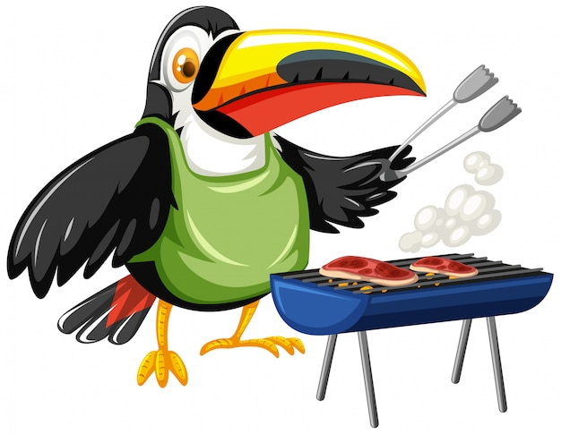Toucan grilling two pieces of steak