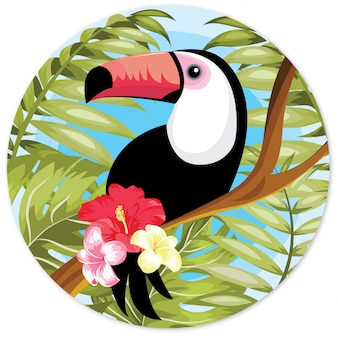 Toucan hand drawn illustration with red flower