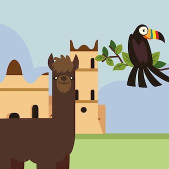 Туканская лама и церковь в боливии