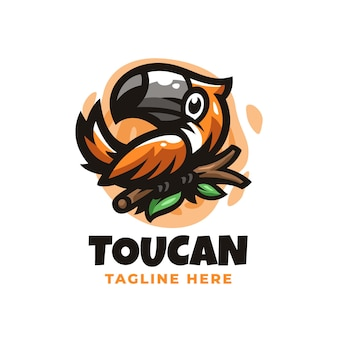 Toucan logo design template with cute details