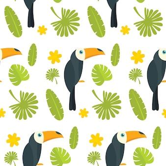 Toucan parrot bird seamless pattern