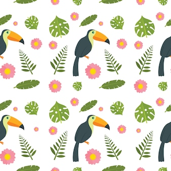 オオハシオウム鳥のシームレスパターン