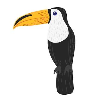 Тукан сидит изолированно. симпатичный персонаж из тропика. жизнь экзотических птиц в джунглях.