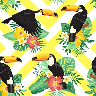 Toucan summer tropical seamless pattern
