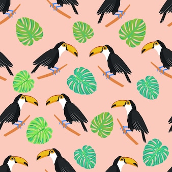 큰부리새 열대 조류 몬스테라는 큰부리새와 이국적인 잎으로 매끄러운 패턴을 남긴다