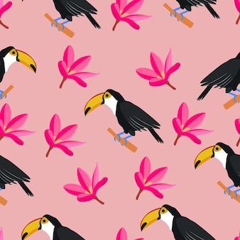 オオハシのエキゾチックな葉と花とオオハシ熱帯鳥のシームレスなパターン