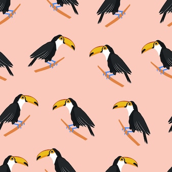 Toucan tropical bird seamless pattern with toucans stock vector illustration isolated on white