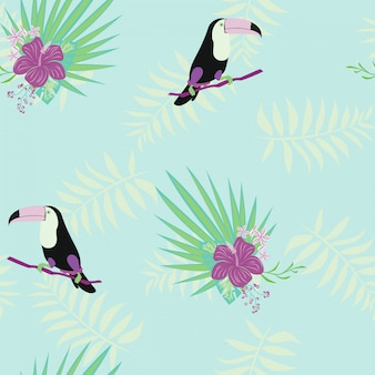 Toucan, tropical flowers and leaves floral textile vector seamless pattern.