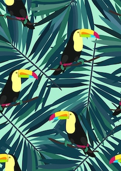 Toucan and tropical leaves seamless pattern.