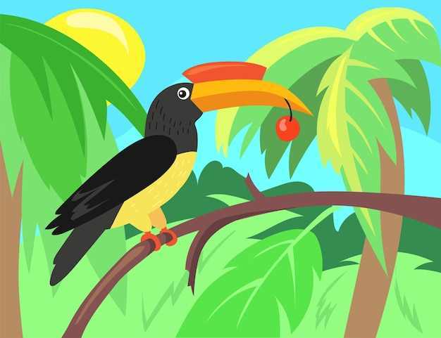 Toucan with berry illustration in cartoon style