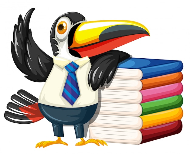 Toucan with many books