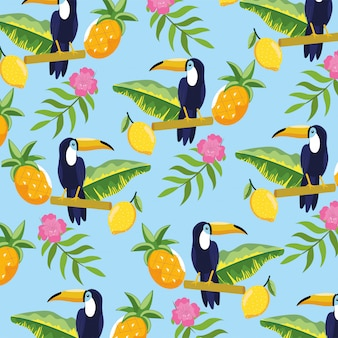 Toucan with pineapple and tropical flowers background