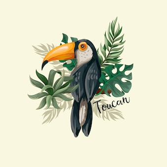 Toucan with tropic leaves.