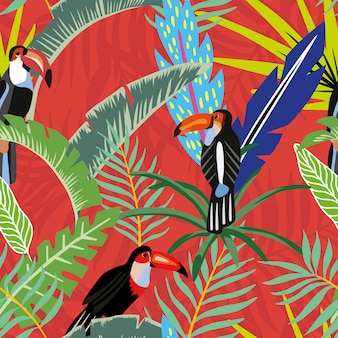 Toucans palm leaves cartoon style red orange seamless pattern wallpaper