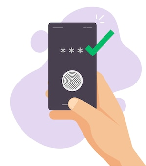 Touch fingerprint id secure identification check on mobile phone in person hand vector