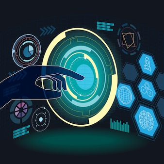 Touch the future digital technology science background