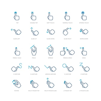 Touch gestures vector icons