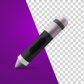Touch pen 3d realistic cute cartoon style on transparent background