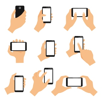 Touch screen hand gestures design elements of swipe pinch and tap isolated vector illustration