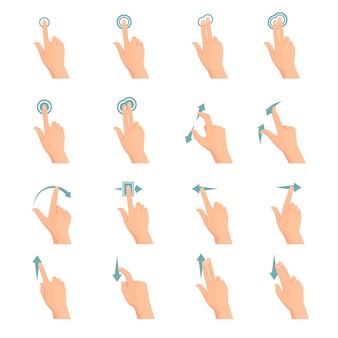 Touch screen hand gestures flat colored icon series with arrows showing direction