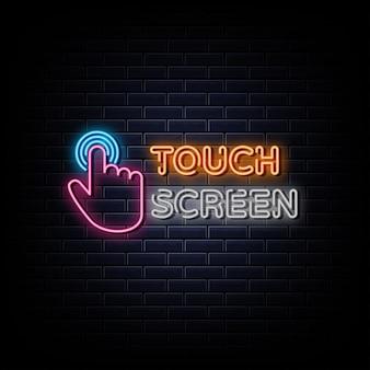 Сенсорный экран неоновый логотип неоновый символ