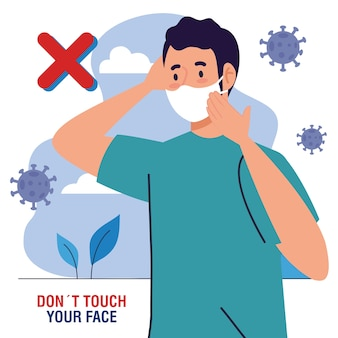 Do not touch your face, man using face mask outdoor