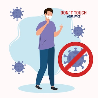 Do not touch your face, man using respiratory protection, avoid touching your face, coronavirus covid19 prevention