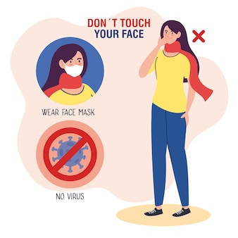 Do not touch your face, woman using scarf with particle of covid19 in signal prohibited, avoid touching your face, coronavirus covid19 prevention