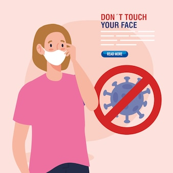 Do not touch your face, young woman using face mask