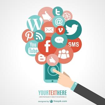 터치 스크린 전화 및 소셜 미디어 아이콘