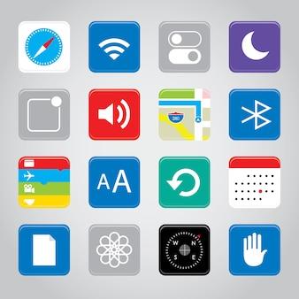タッチスクリーンスマートフォンモバイルアプリケーションのボタンアイコン
