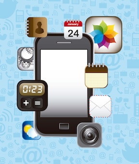 Touchscreen smartphone with apps vector illustration