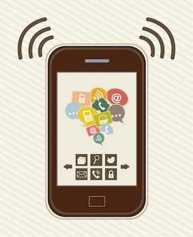Touchscreen smartphone with apps vintage vector illustration