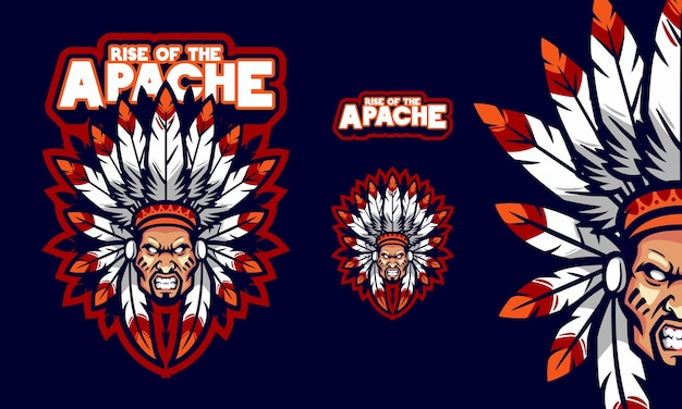 Tough with a feathered chieftain hat mascot logo