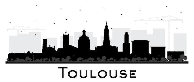 흰색 절연 검은 건물과 툴루즈 프랑스 도시의 스카이 라인 실루엣. 삽화