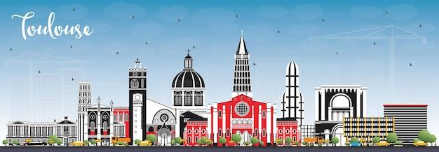 컬러 건물과 푸른 하늘이 있는 툴루즈 프랑스 도시의 스카이라인. 삽화