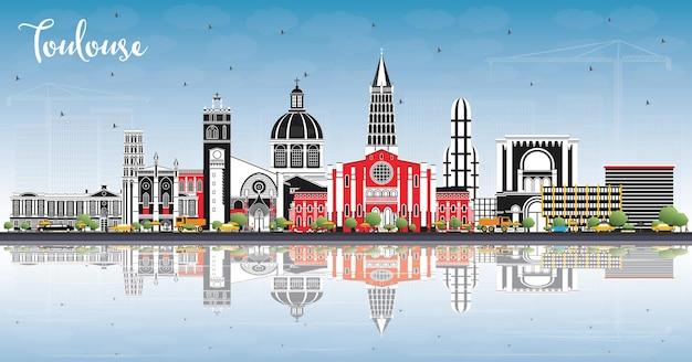 컬러 건물, 푸른 하늘 및 반사와 툴루즈 프랑스 도시의 스카이 라인. 벡터 일러스트 레이 션. 역사적인 건축과 비즈니스 여행 및 개념. 랜드마크가 있는 툴루즈의 풍경.