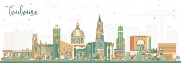 컬러 건물과 툴루즈 프랑스 도시의 스카이 라인. 삽화