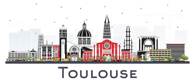 흰색 절연 색상 건물과 툴루즈 프랑스 도시의 스카이 라인. 벡터 일러스트 레이 션. 역사적인 건축과 비즈니스 여행 및 개념. 랜드마크가 있는 툴루즈 풍경.