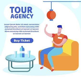 Tour agency banner, travel agent tell about trip