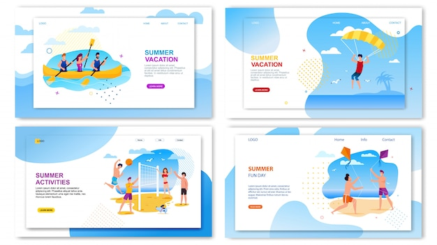 Tour agency landing page set offer fun summer time