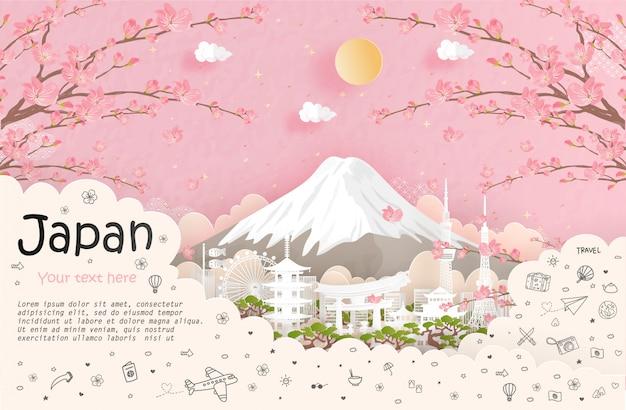 日本の旅行と旅行の広告とランドマーク