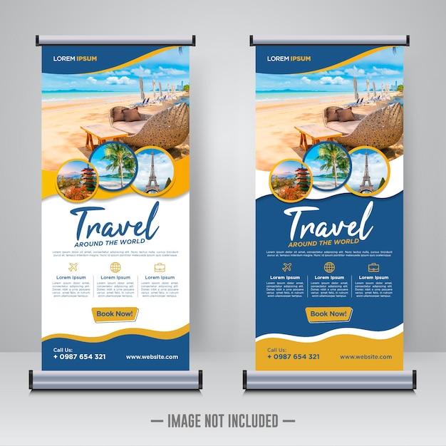 여행 및 여행 롤업 또는 x 배너 디자인 서식 파일