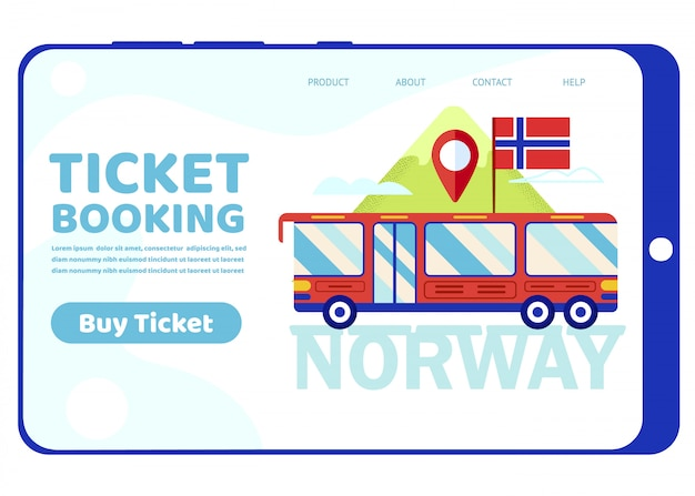 Tour bus with norway flag on mountain landscape