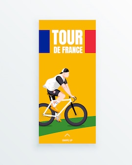 Tour de france men's multiple stage bicycle race social media story template with young bike racer riding on green bike path. sport competitions and outdoor activity. sportswear and equipment.