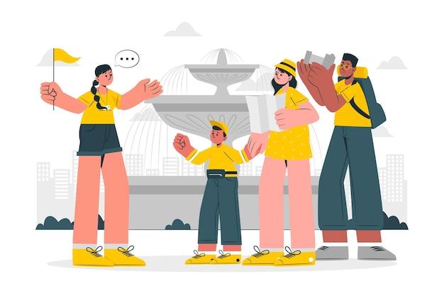 Tour guide concept illustration