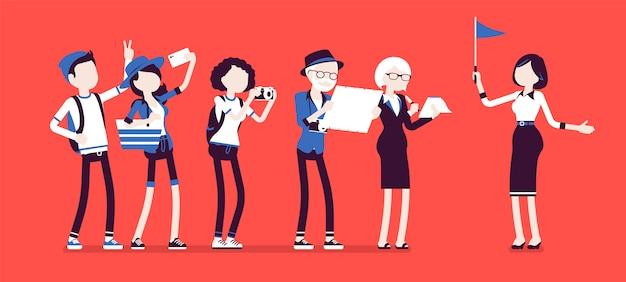 ツアーガイドの女性と観光客のグループ。興味のある場所を示す女性。訪問する都市や国の詳細を説明します。顔のないキャラクターのイラスト