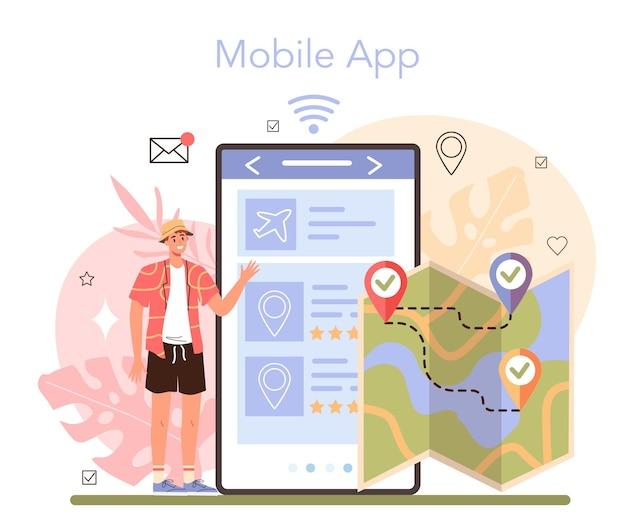 ツアーガイドのオンラインサービスまたはプラットフォーム。モバイルアプリ。フラットベクトルイラスト